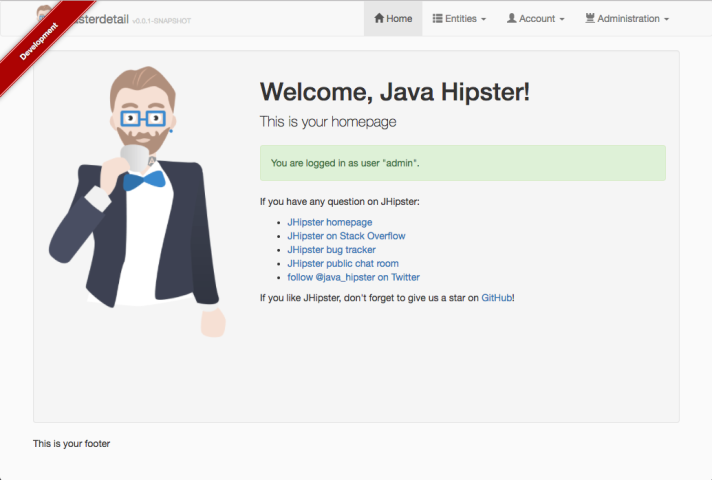 The JHipster default home page